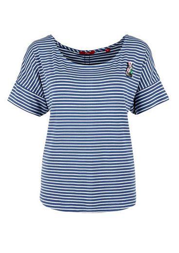 s.Oliver RED LABEL Shirt mit Glitzerstreifen und Pin