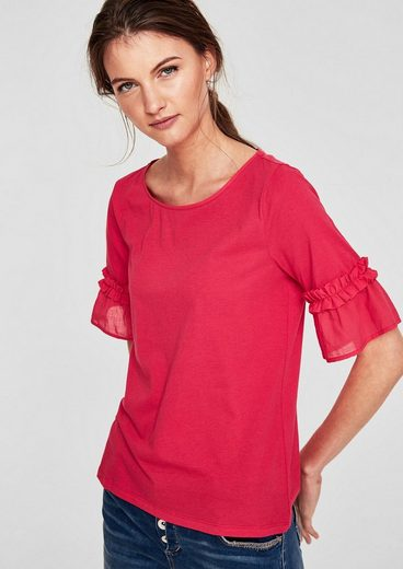 s.Oliver RED LABEL Crew Neck-Shirt mit Rüschenbesatz