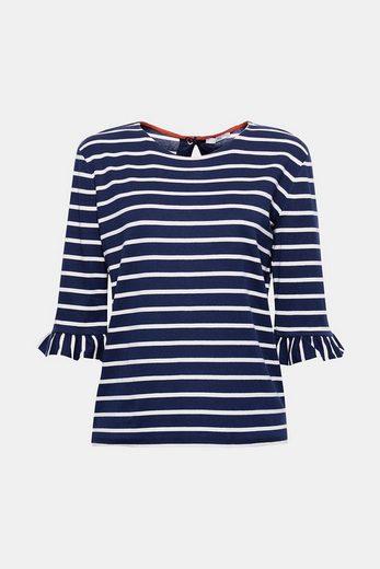 EDC BY ESPRIT Feminines Streifen-Shirt aus Ripp-Jersey
