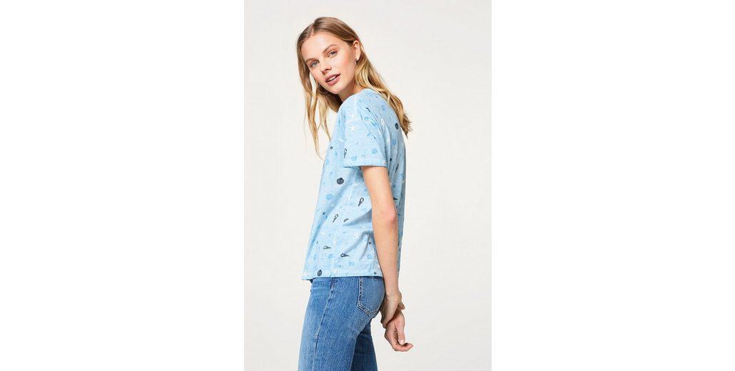 Billig EDC BY ESPRIT Baumwoll-T-Shirt mit Muschel-Print Schnelle Lieferung Steckdose Mit Master 0RWcc8sDH
