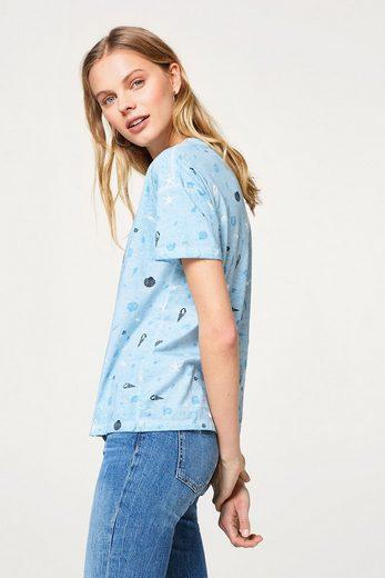 EDC BY ESPRIT Baumwoll-T-Shirt mit Muschel-Print