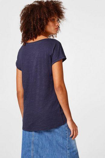 ESPRIT Slub-Shirt mit Tasche, 100% Baumwolle
