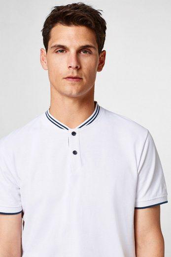 ESPRIT COLLECTION Piqué-Poloshirt mit gestreiftem Stehkragen