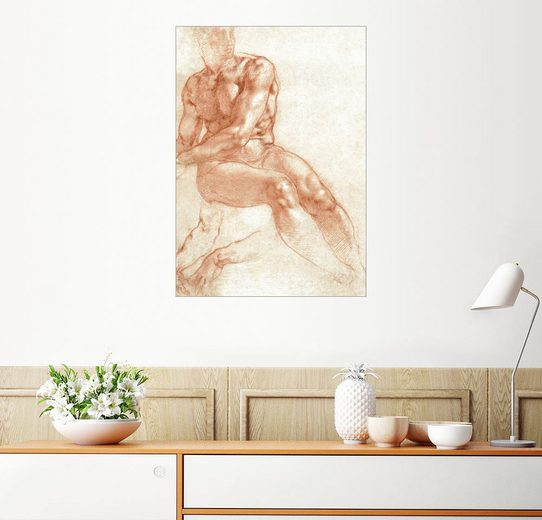 Posterlounge Wandbild - Michelangelo »Sitzender Männerakt«