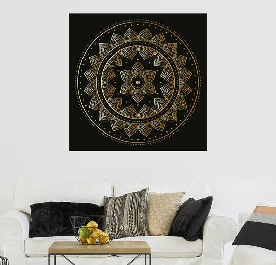 Posterlounge Wandbild »Mandala auf schwarz«