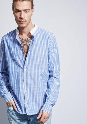 Otto Kern Gestreiftes Hemd mit Stehkragen - Slim Fit