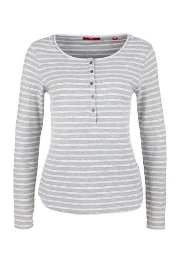 s.Oliver RED LABEL Henley mit Ringel-Optik