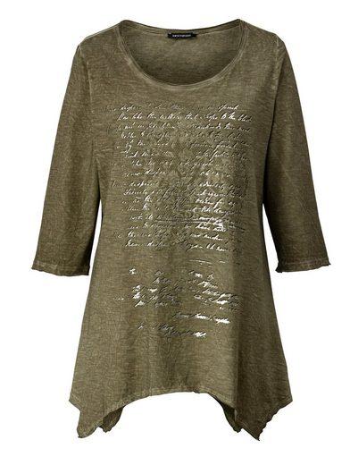 Sara Lindholm by Happy Size Shirt oil wash mit Zipfelsaum