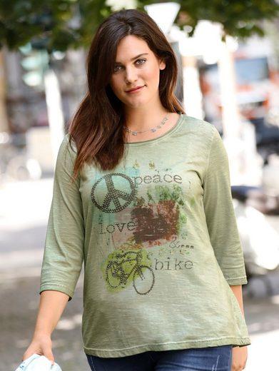 Janet und Joyce by Happy Size Shirt oil wash mit Statement-Print