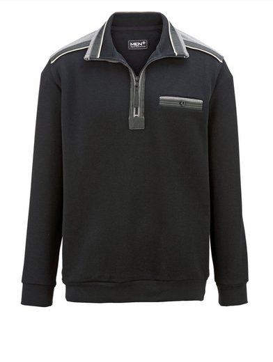 Men Plus by Happy Size Sweatshirt in Rippenstruktur