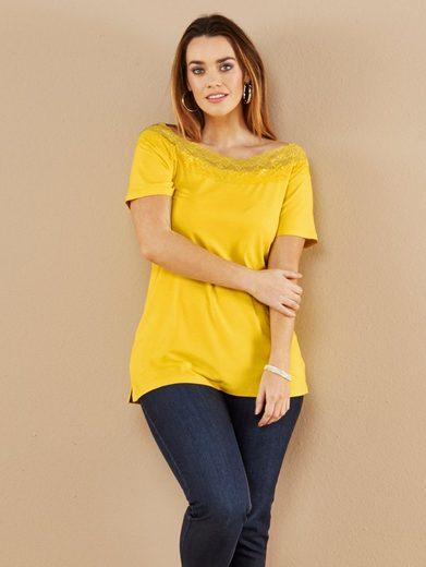 Sara Lindholm by Happy Size Shirt mit Carmen-Ausschnitt und Spitze