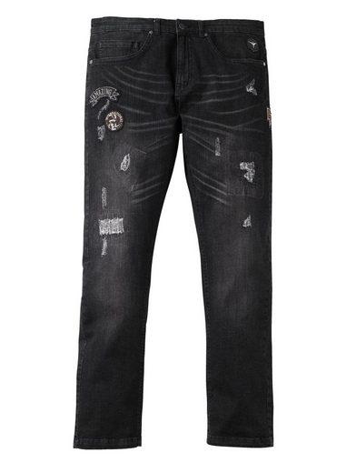 Les Hommes Plus Par Des Jeans Effilés De Taille Heureuse Mit Destroy-effekt Und Patches