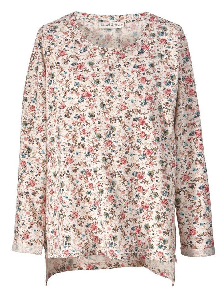 Janet und Joyce by Happy Size Vokuhila-Sweatshirt mit Blumen-Print
