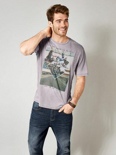 Men Plus by Happy Size T-Shirt in Ausbrenner-Optik