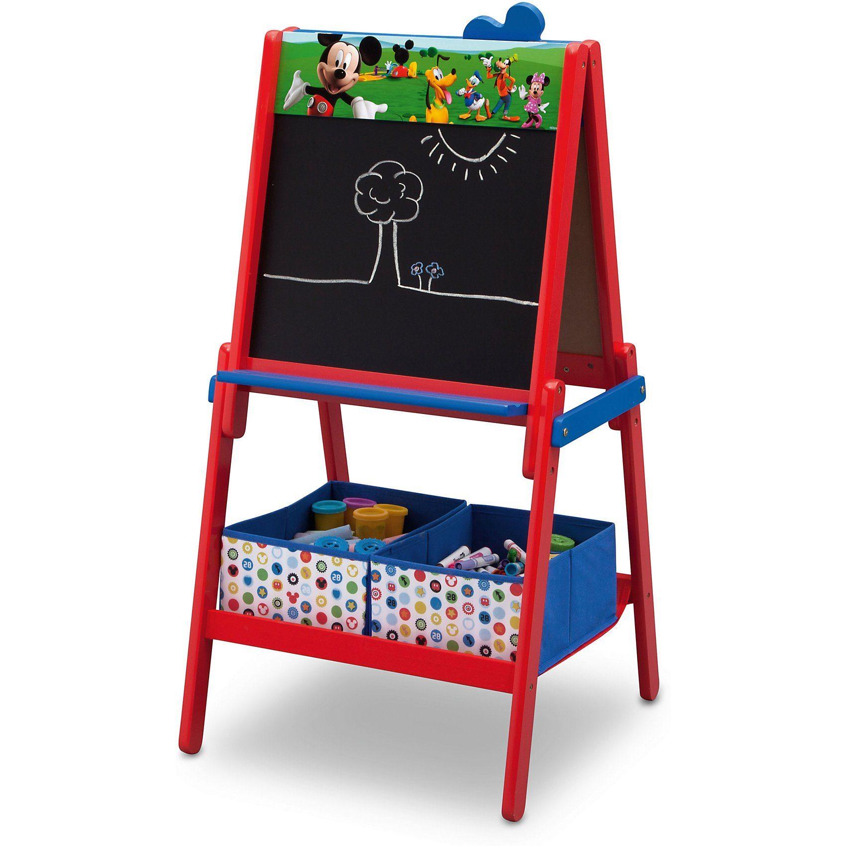 DELTA CHILDREN Schreib- und Magnet- Standtafel mit Aufbewahrung, Mickey Mou
