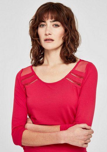 s.Oliver RED LABEL Jerseyshirt mit Mesh-Einsatz