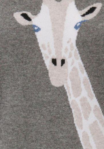 FLUFFY EARS Strickpullover aus Kaschmir, Giraffen-Intarsie