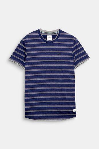 EDC BY ESPRIT Jacquard-Shirt mit Strukturstreifen, aus Jersey
