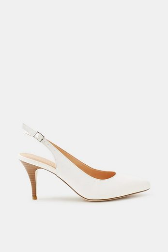 ESPRIT Slingback-Pumps in glatter Leder-Optik