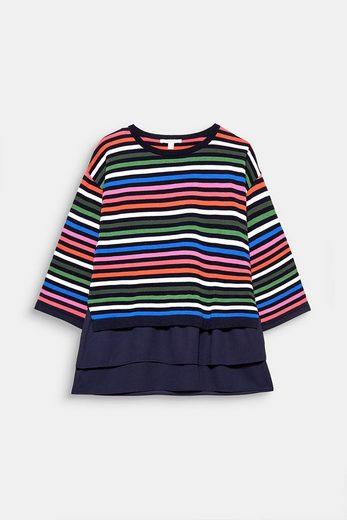 ESPRIT Pullover mit Multicolor-Ringeln und Chiffonsaum