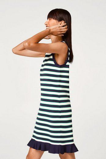 ESPRIT Ringel-Kleid aus dichtem Feinstrick mit Volants