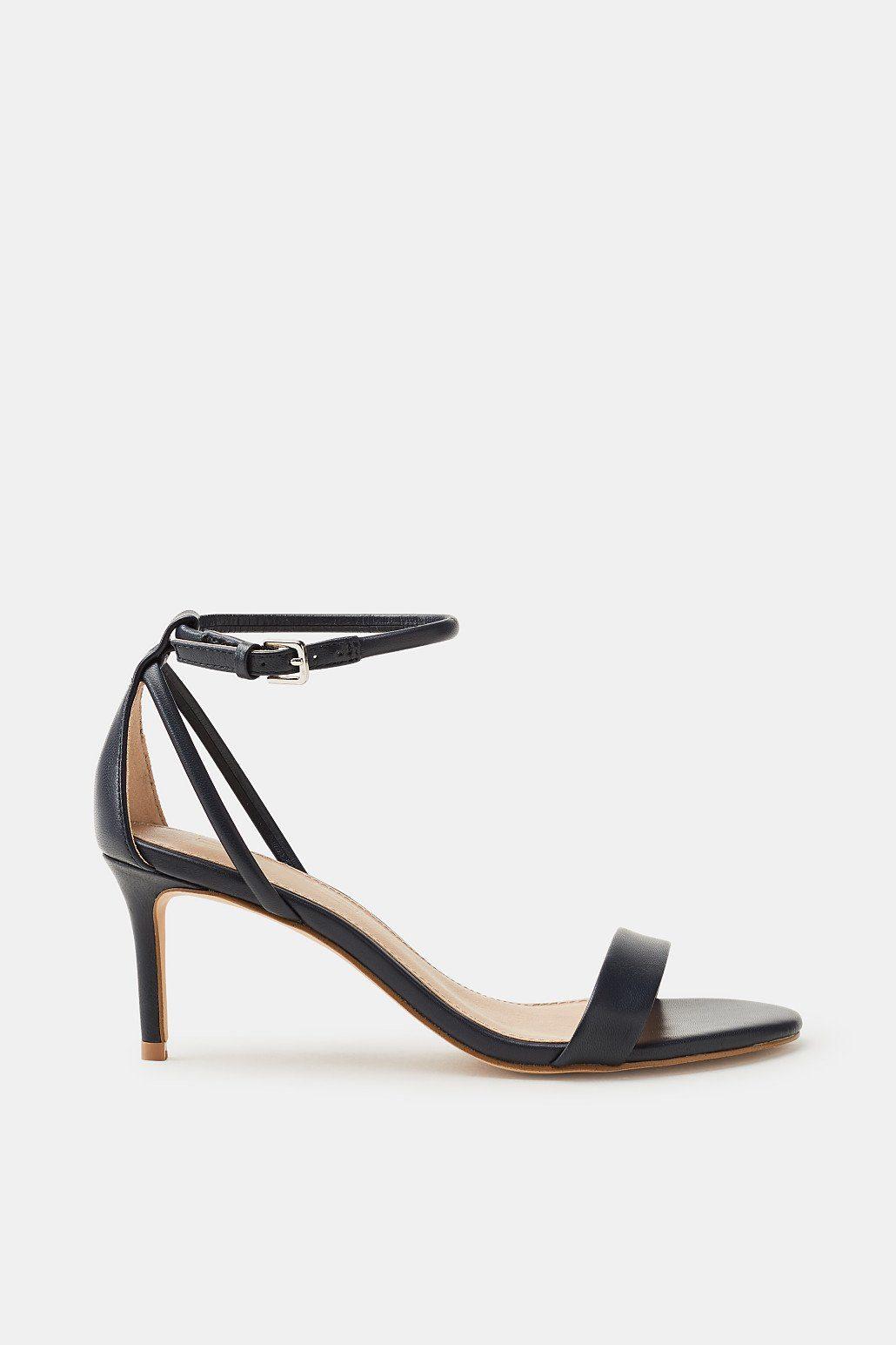 Esprit Elegante Sandalette aus Leder für Damen, Größe 38, Light Blue