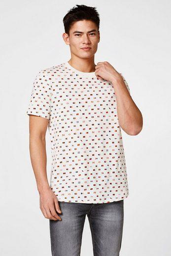 EDC BY ESPRIT Meliertes Jersey-Shirt mit Symbol-Prints