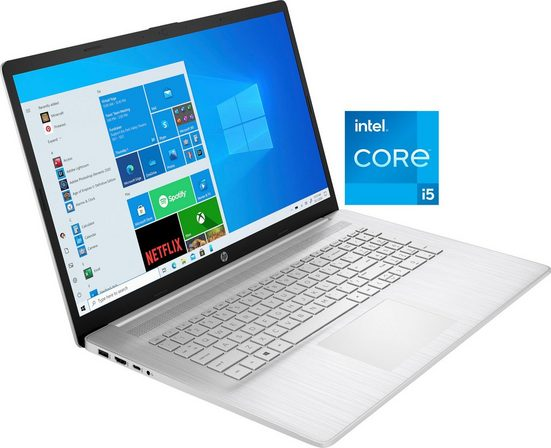 HP 17-cn0055ng Notebook (43,9 cm/17,3 Zoll, Intel Core i5 1135G7, Iris© Xe Graphics, 512 GB SSD, Kostenloses Upgrade auf Windows 11, sobald verfügbar)