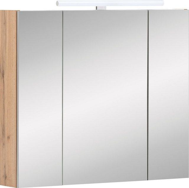 Spiegel - Schildmeyer Spiegelschrank »Duo« Breite 80 cm, 3 türig, LED Beleuchtung, Schalter Steckdosenbox, Glaseinlegeböden, Soft Close, Made in Germany  - Onlineshop OTTO