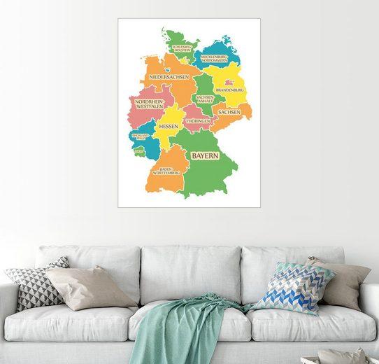 Posterlounge Wandbild - Ingo Menhard »Deutschland Landkarte mit Bundesländern«