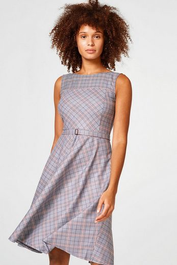 ESPRIT Glencheck-Kleid mit weitem Rock und Stretchkomfort