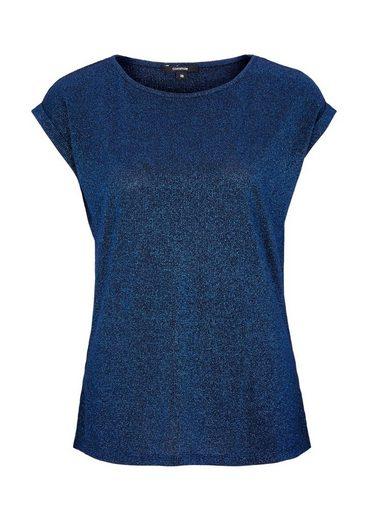 COMMA Glamouröses Kurzarmshirt aus Glitzergarnen