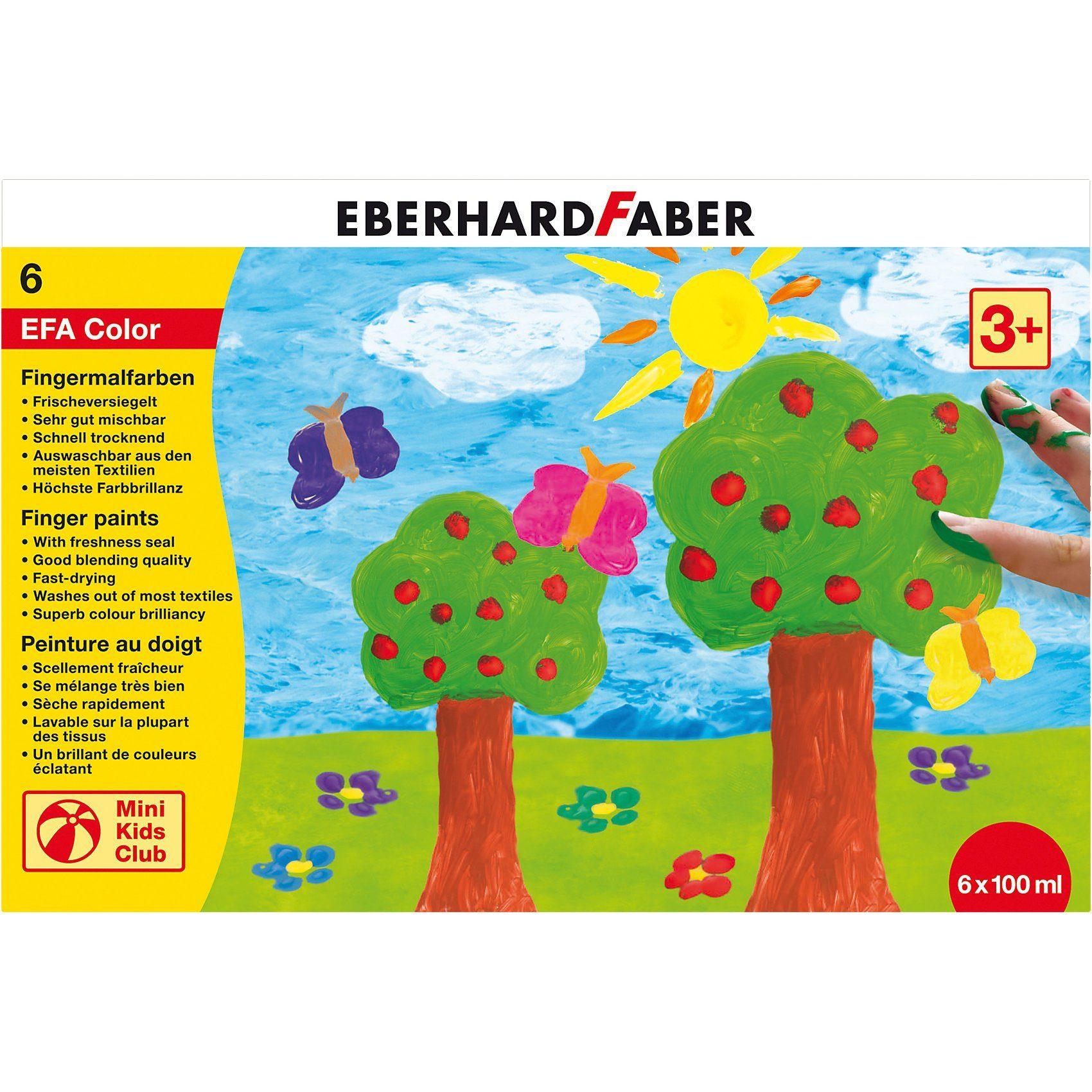 Eberhard Faber Mini Kids Fingermalfarbe, 6 x 100 ml