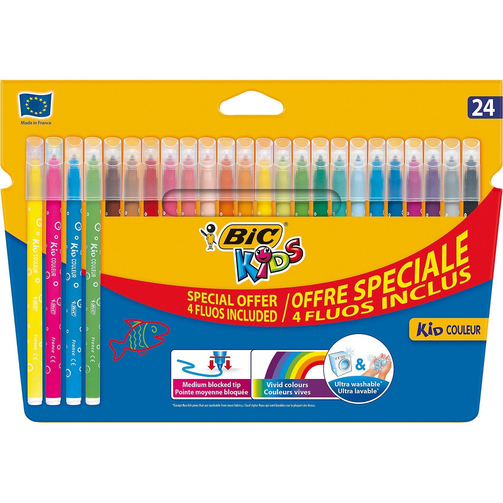BIC Kids Kid Couleur Filzstifte, 24 Farben