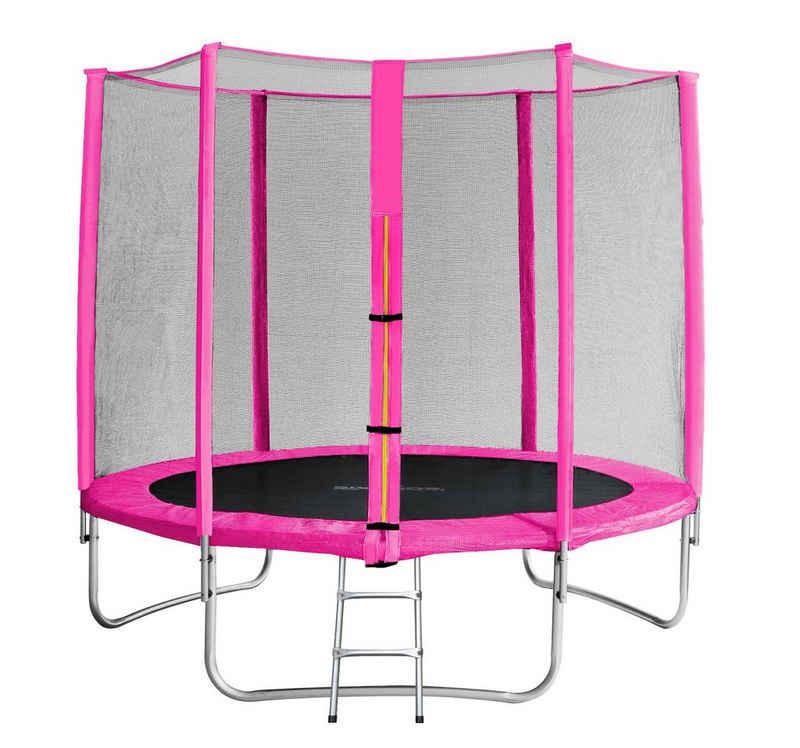 SixBros. Gartentrampolin »TP245/1610«, Ø 245.0 cm, Trampolin mit Sicherheitsnetz Pink Komplett-Set