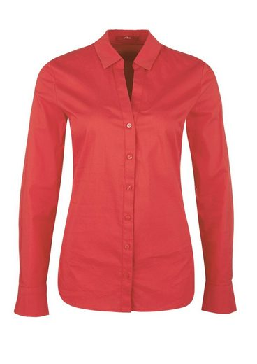 s.Oliver RED LABEL Stretch-Bluse mit V-Ausschnitt