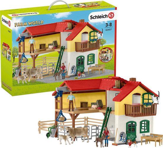 Schleich® Spielfigur »Schleich 42407 Bauernhaus mit Stall und Tieren«
