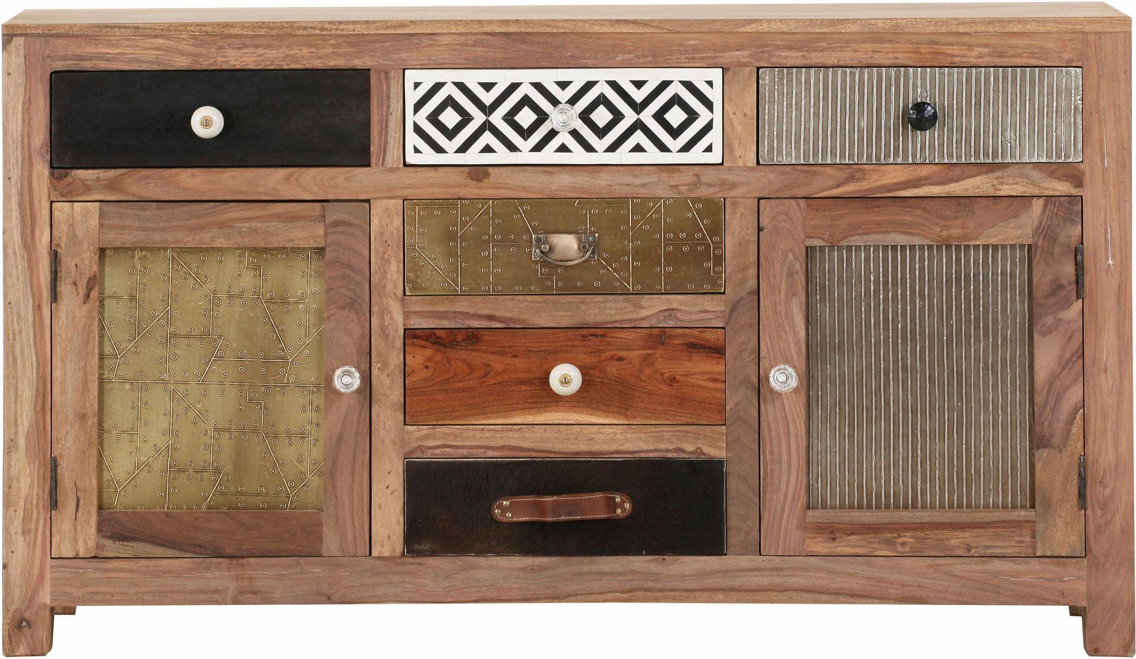 Gutmann Factory Sideboard »Safari«, 2 Holztüren und 6 Schubladen mit dekorativen Fronten