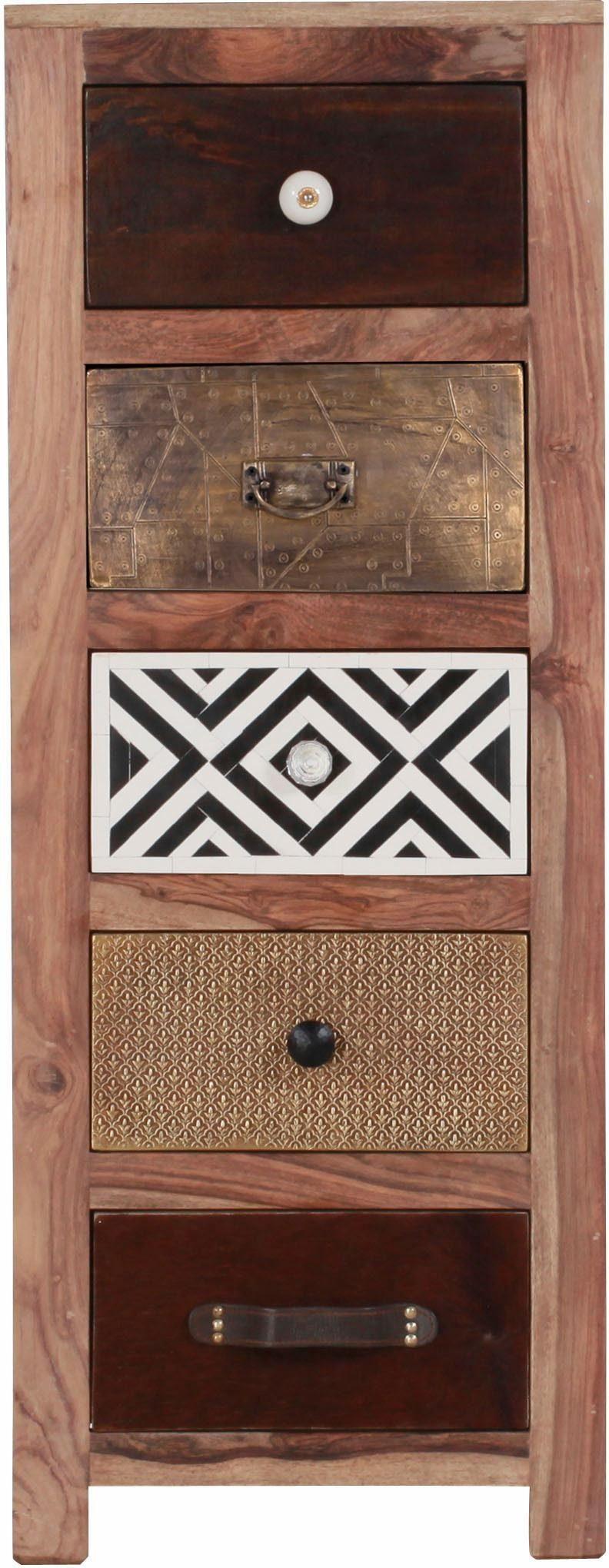Gutmann Factory Kommode, Breite 46 cm Kommode »Safari« mit 5 Schubladen aus massivem Holz mit verzierten Fronten