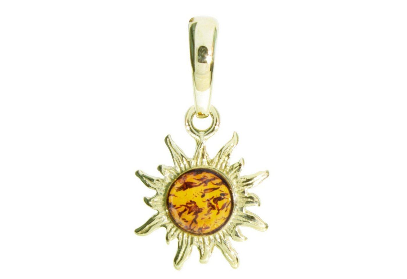 OSTSEE-SCHMUCK Kettenanhänger »Sonne 14 mm Silber 925/000, vergoldet Bernstein« | Schmuck > Halsketten > Ketten ohne Anhänger | Gelb | OSTSEE-SCHMUCK