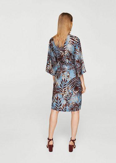 MANGO Kleid mit Blattmuster