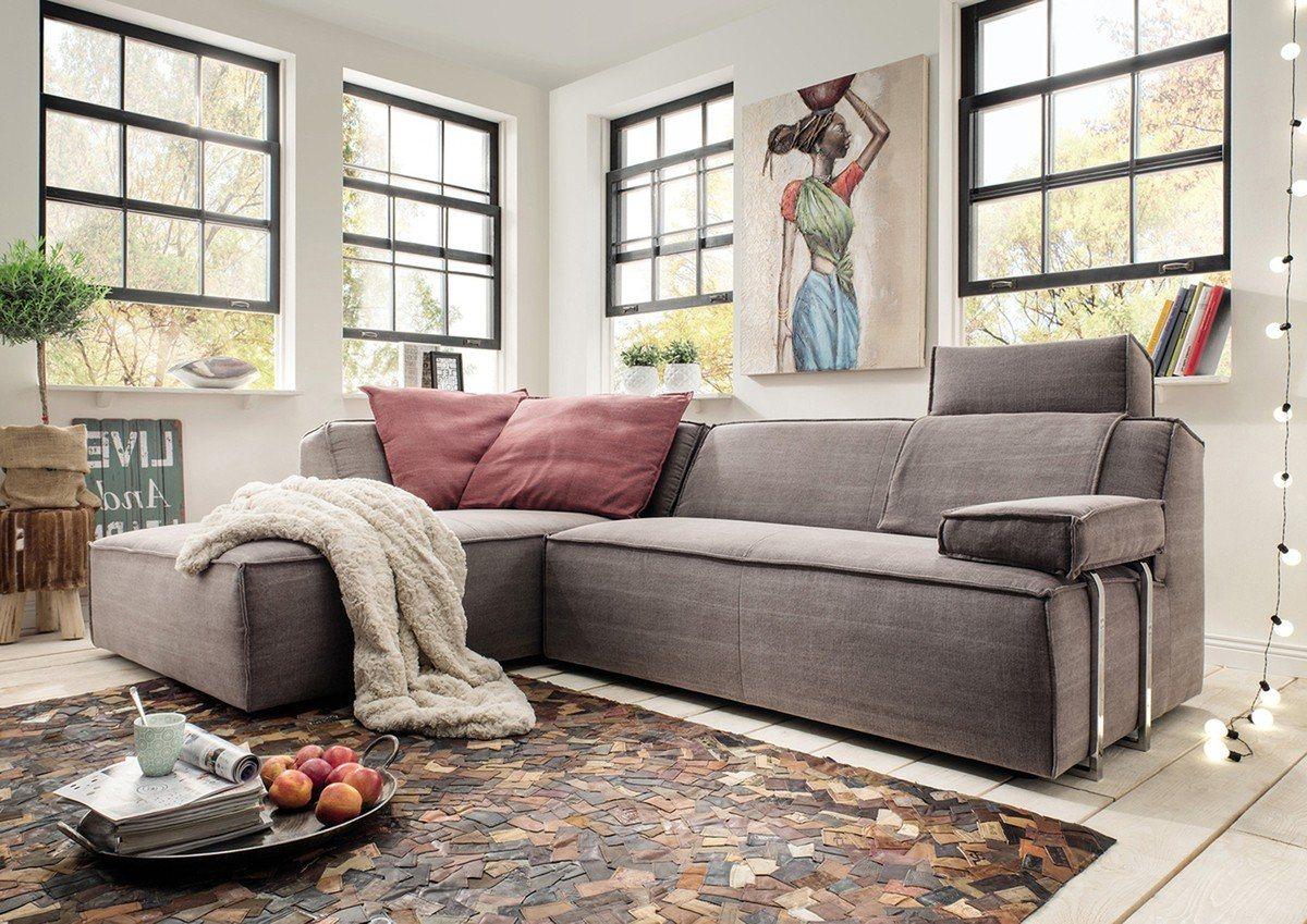 Kasper-Wohndesign Ecksofa Lounge Stoff braun Recamiere »RENIE« - Kasper-Wohndesign
