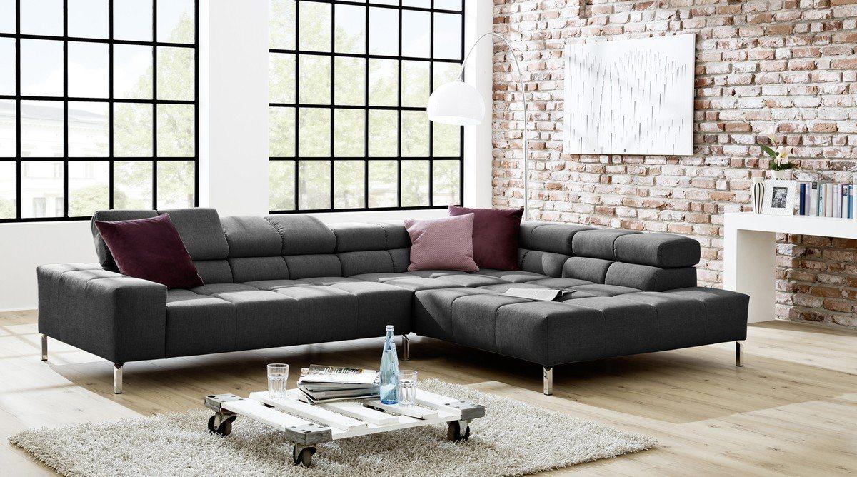 Kasper-Wohndesign Ecksofa Lounge Stoff grau »NELSON« - Kasper-Wohndesign