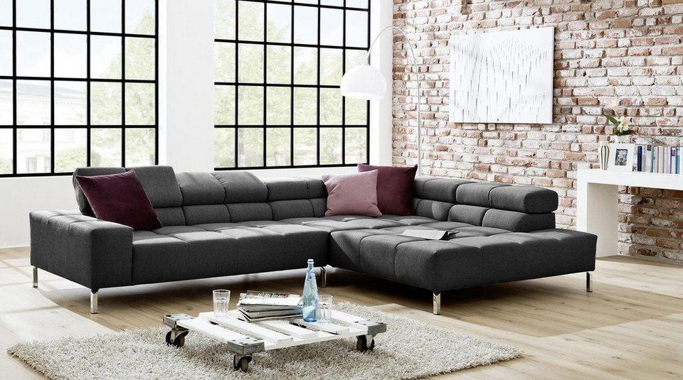 Kasper Wohndesign Ecksofa Lounge Stoff Grau Oder Leder Pearl Nelson