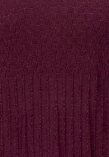 Anna Aura Strickpullover mit weitem V-Ausschnitt, Plissee-Optik