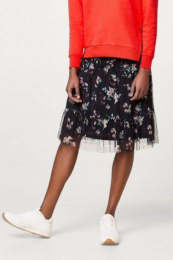ESPRIT Tüllrock mit Saum-Volant und Blumenprint