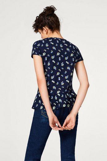 EDC BY ESPRIT Gestreiftes Baumwoll-Shirt mit Volant