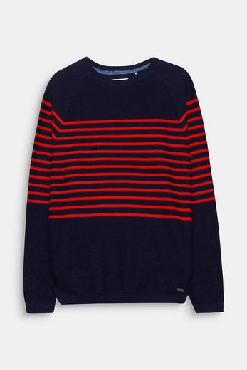 Edc By Esprit Sweater In Stripe-look, Made Of Pure Cotton