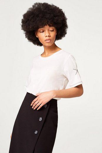ESPRIT Seidig-weiches Shirt mit verzierten Ärmeln