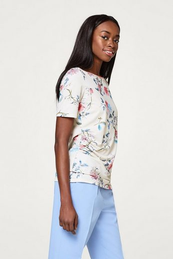 ESPRIT COLLECTION Softes Stretch-Shirt mit Print und Glitzer-Bordüre